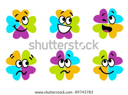 Cute colorful four leaf clover collection isolated on white - stock vector