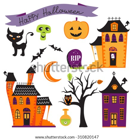 Cute colorful halloween elements collection. Vector illustration - stock vector