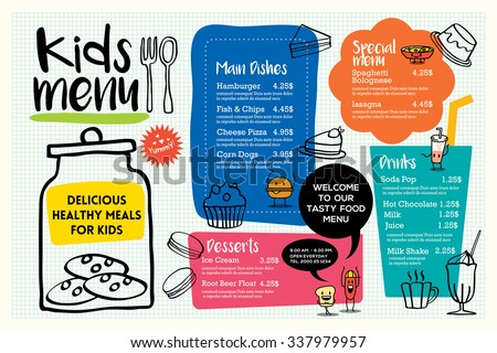 Cute colorful kids meal menu placemat design vector template - stock vector