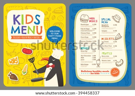 Cute colorful kids meal restaurant menu vector template with penguin cartoon - stock vector