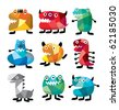 cute colorful monster - stock vector