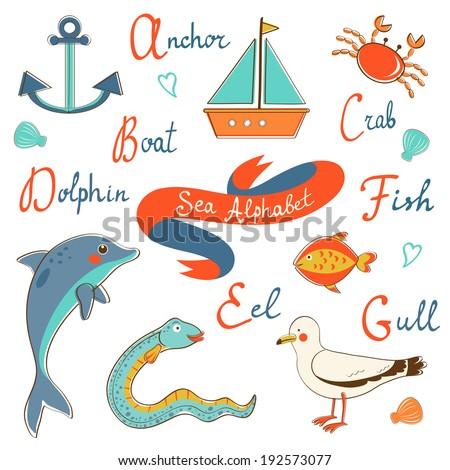 Cute colorful sea alphabet. Vector illustration - stock vector