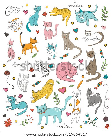 Cute colorful set  of hand drawn cats with twigs flowers and leaves. The set contains a word cat in Russian - koshka. Illustration in vector format - stock vector