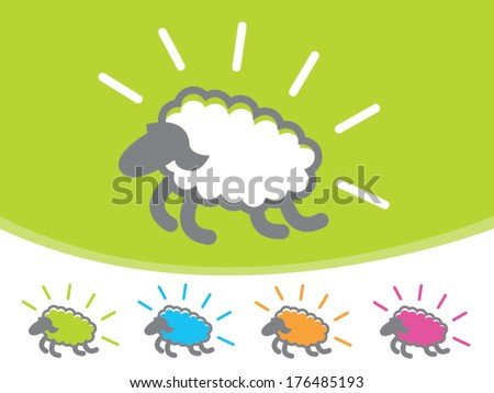 Cute colorful sheep jumping through the air/ Vector Sheep Icons - stock vector