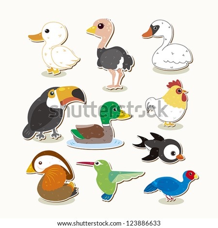cute colorful vector bird set - stock vector