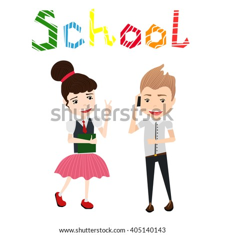 Cute Colorful Vector School Illustration with School Girl, School Boy and Colorful School Typography Lettering - stock vector