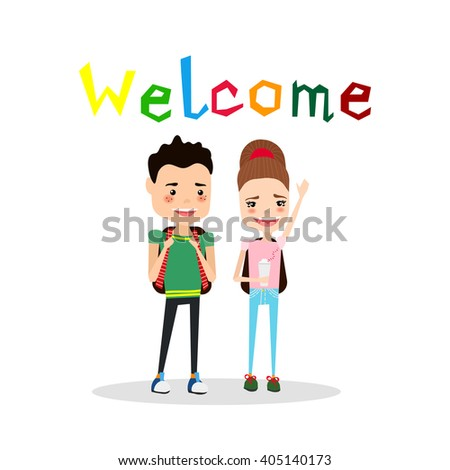 Cute Colorful Vector School Illustration with School Kids and Colorful Welcome Typography Lettering - stock vector