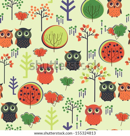 Cute colorful vector with owls and trees. Seamless pattern - stock vector