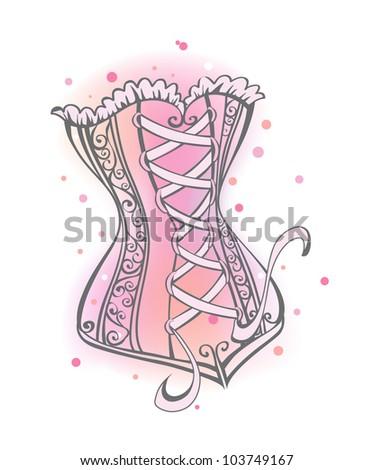 Cute corset - stock vector