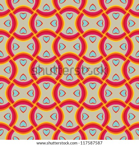 cute cotton vintage fabric pattern with bright waves and small hearts, valentines vector seamless background creates a motion illusion - stock vector
