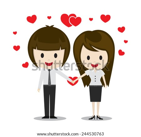 Cute couple in love holding hands, cartoon characters vector illustration - stock vector