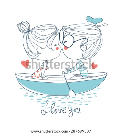 Cute couple kissing sitting on pier - stock vector