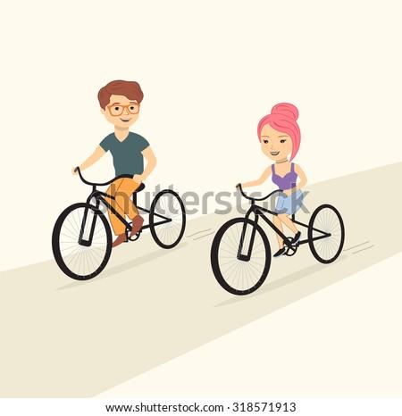 cute couple riding bicycles, vector - stock vector