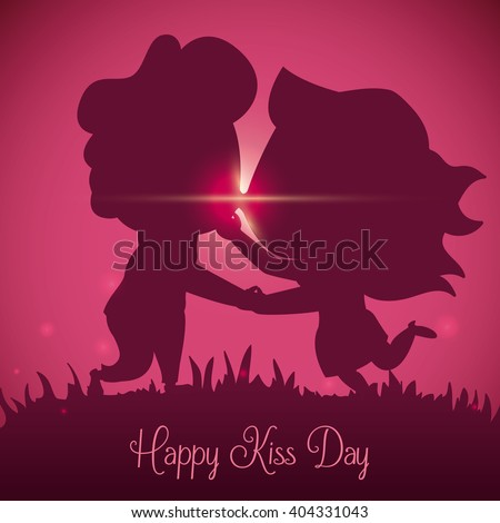 Cute couple silhouette giving a kiss in a pink sunset of Kiss Day. - stock vector