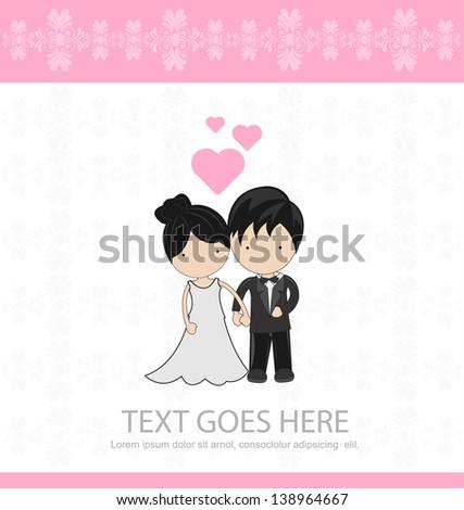 cute couple wedding invitation - stock vector