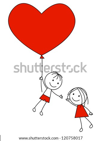 Cute couple with heart balloon - stock vector