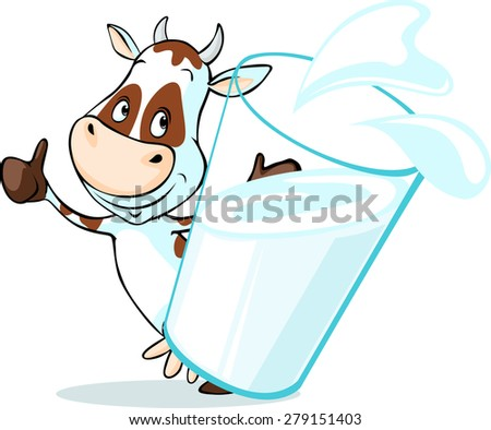 cute cow behind glass of milk - isolated on white background - stock vector