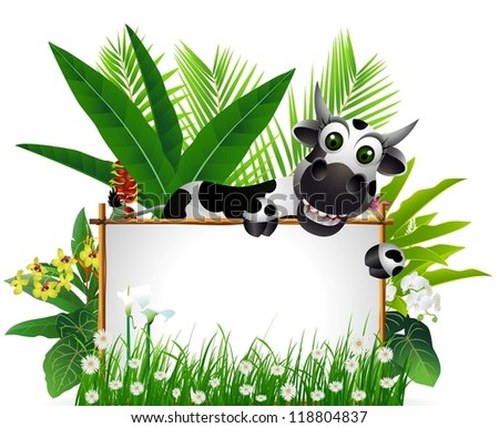 cute cow cartoon and tropical forest background - stock vector
