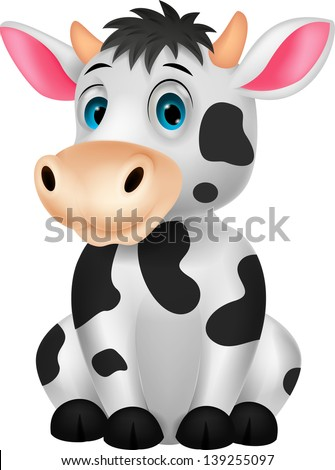 Cute cow cartoon sitting - stock vector