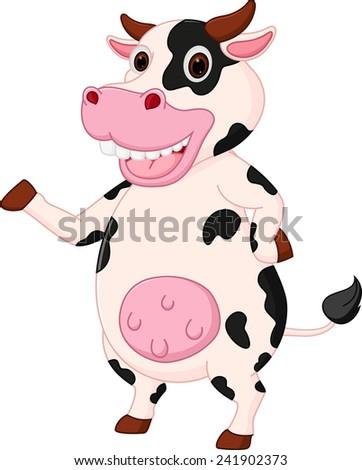 Cute cow cartoon waving hand  - stock vector