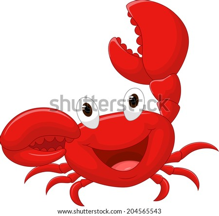 Cute crab cartoon - stock vector