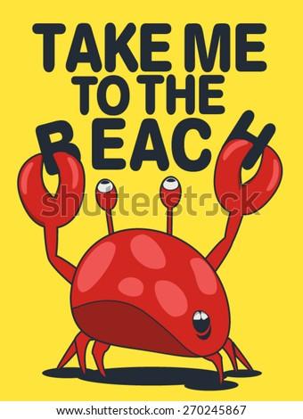 cute crab vector design for tee - stock vector