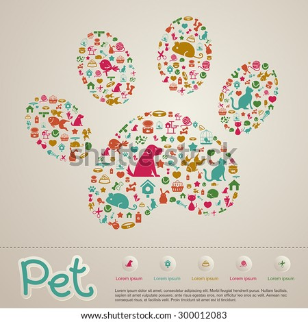 Cute creative animal and pet shop infographic icon brochure banner badge background template layout design for shopping advertisement or website usage, create by vector   - stock vector