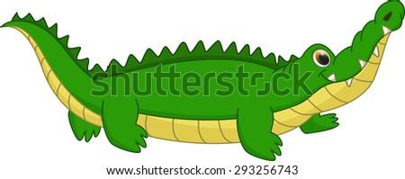 cute crocodile cartoon - stock vector