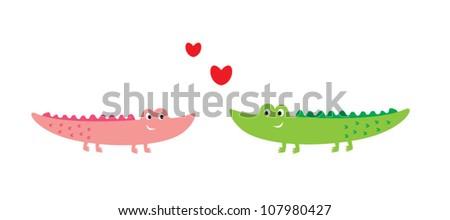 cute crocodile couple - stock vector