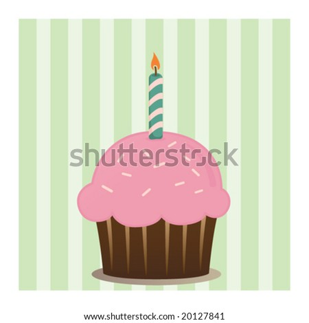 Cute cupcake - stock vector
