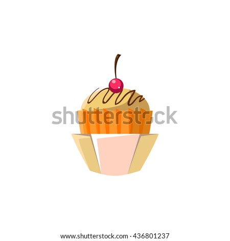 Cute Cupcake In Orange Paper Cup Flat Vector Cute Girly Style Isolated Sticker On White Background - stock vector
