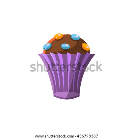 Cute Cupcake In Purple Paper Cup Flat Vector Cute Girly Style Isolated Sticker On White Background - stock vector