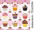 Cute Cupcakes Seamless Pattern. Set of 9 colorful cupcakes in a lovely display. Tile it together and there is a seamless pattern to use as you wish. Cupcakes also can be used as individual icons. - stock vector