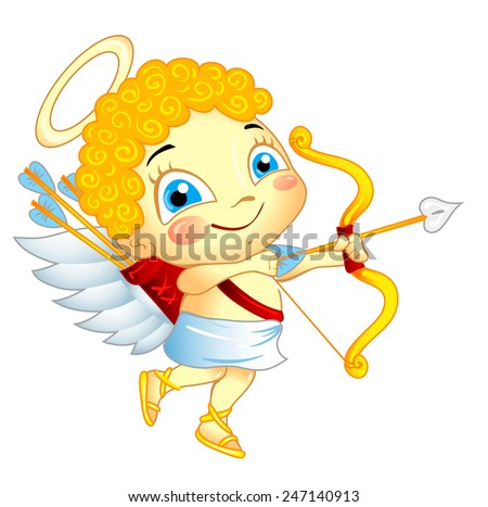 Cute Cupid with bow and arrow isolated - stock vector