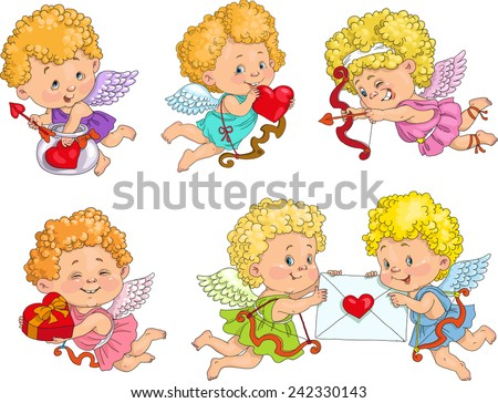 Cute Cupid with bow and arrows and hearts. Castomer Valentine. - stock vector