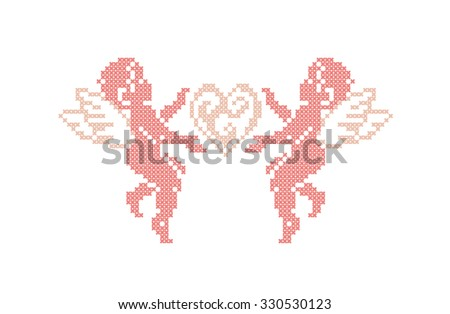 Cute Cupids. Cupid angels. Valentines day. Vector element embroidery.  - stock vector