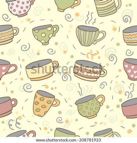Cute cups seamless pattern. Seamless pattern can be used for menu, background, card template, business card or for website. Hand drawn cup pattern made in vector. - stock vector