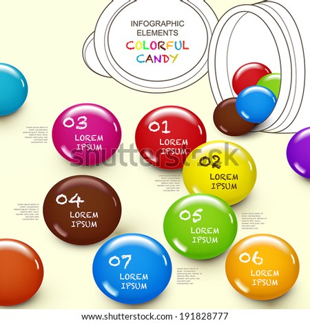 cute 3d vector abstract candy infographics with lines candy box - stock vector