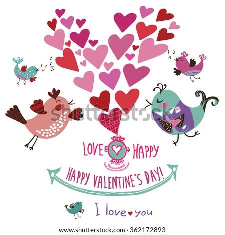 Cute decorative card for lovers. With birds, hearts and a declaration of love. Graphic elements in cartoon style for your design. Vector illustration. Happy Valentine's Day! - stock vector