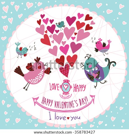Cute decorative card for lovers with birds, hearts and a declaration of love. Happy Valentine's Day! Set of design elements Valentine's day and wedding. - stock vector