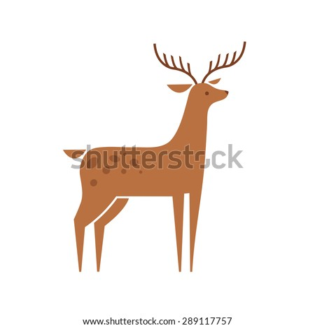 Cute deer fawn cartoon vector illustration isolated on white background. Vector deer logo icon symbol design template - stock vector