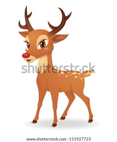 Cute deer standing isolated on white. - stock vector