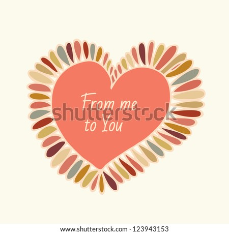 Cute design element for cards, crafts, prints, scrapbooking, ornaments. Hand drawn heart with feathers. Decorative love frame - stock vector