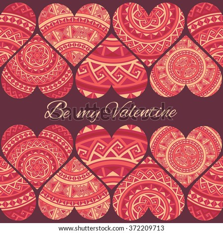 Cute design template with seamless ribbons of ethnic hearts isolated on dark red background.Vector illustration. Decorative elements for cards, gifts, crafts on st. Valentines day - stock vector
