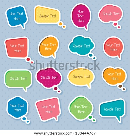 Cute dialog box digital clip art - stock vector
