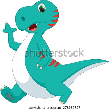 cute dinosaur cartoon - stock vector