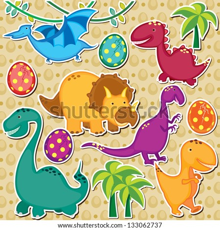 cute dinosaur clip art - stock vector