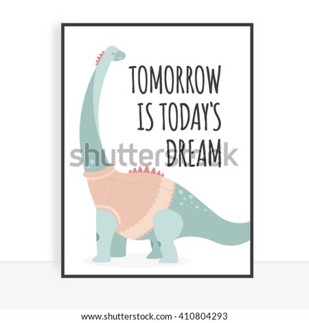 Cute dinosaur for children's posters and postcards - stock vector