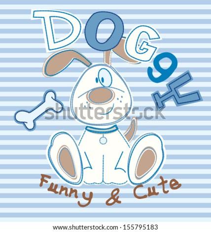 cute dog 1 - stock vector