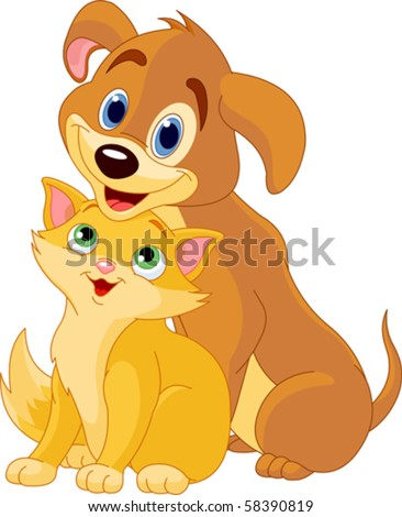 Cute Dog and Cat Best Friends Ever - stock vector